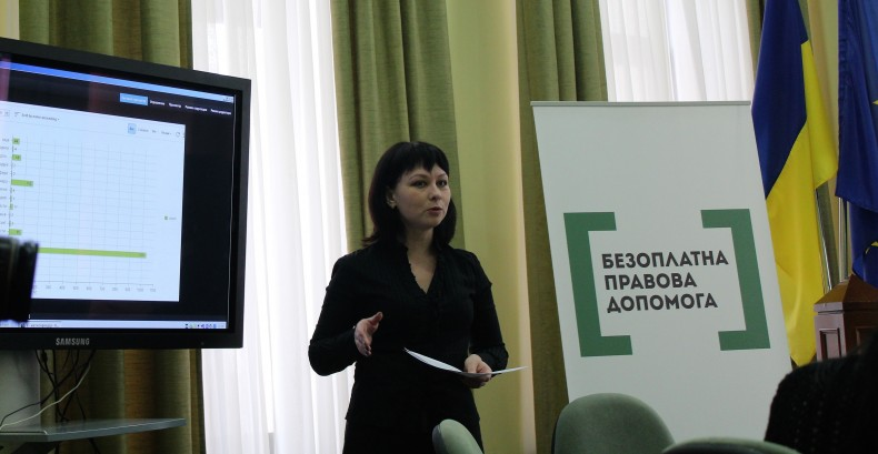 Nataliia Yesina, an assistant coordinator of UHHRU public reception in Sumy