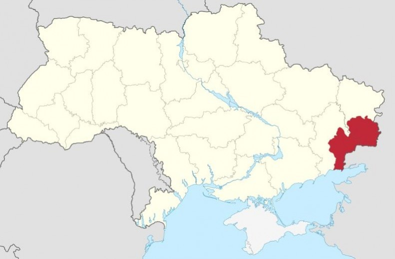 Occupied territories of the Donetsk and Luhansk regions on the map of the Ukraine