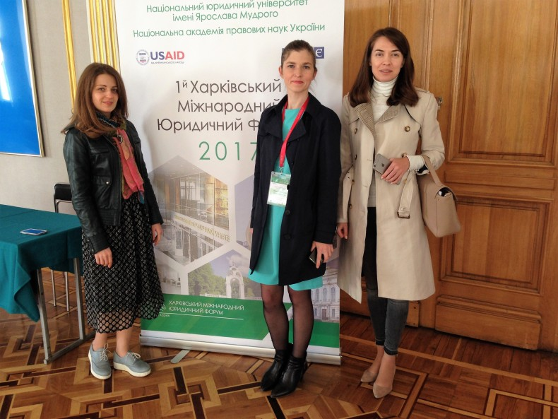 Yevheniia Kapalkina (on the laft) and Daria Svyrydova (on the right) attending Kharkiv International Law Forum