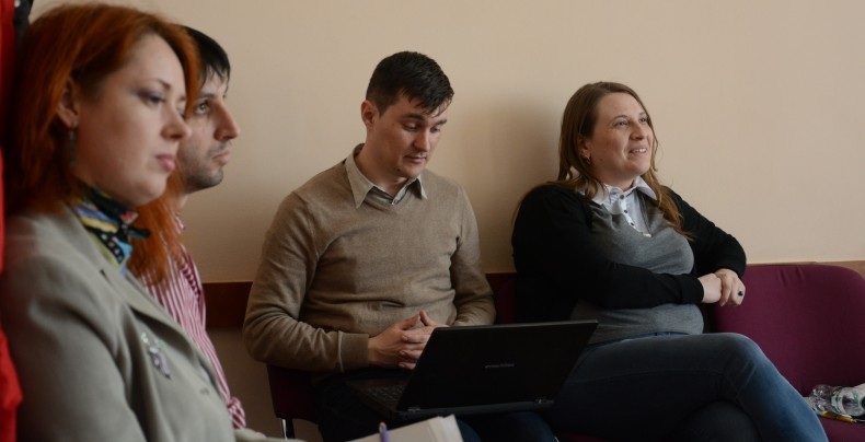 Yuliya Gres (All-Ukrainian Network of People Living with HIV/AIDS), Maksym Petrov, Pavlo Shvab and Olena Romanova (UHHRU)